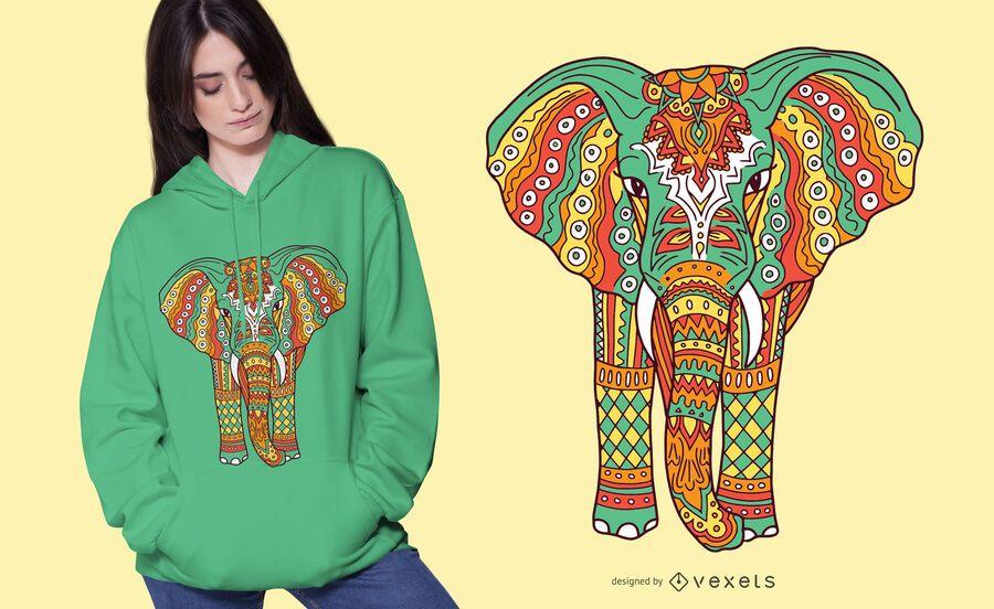 Design de t-shirt de mandala de elefante colorido