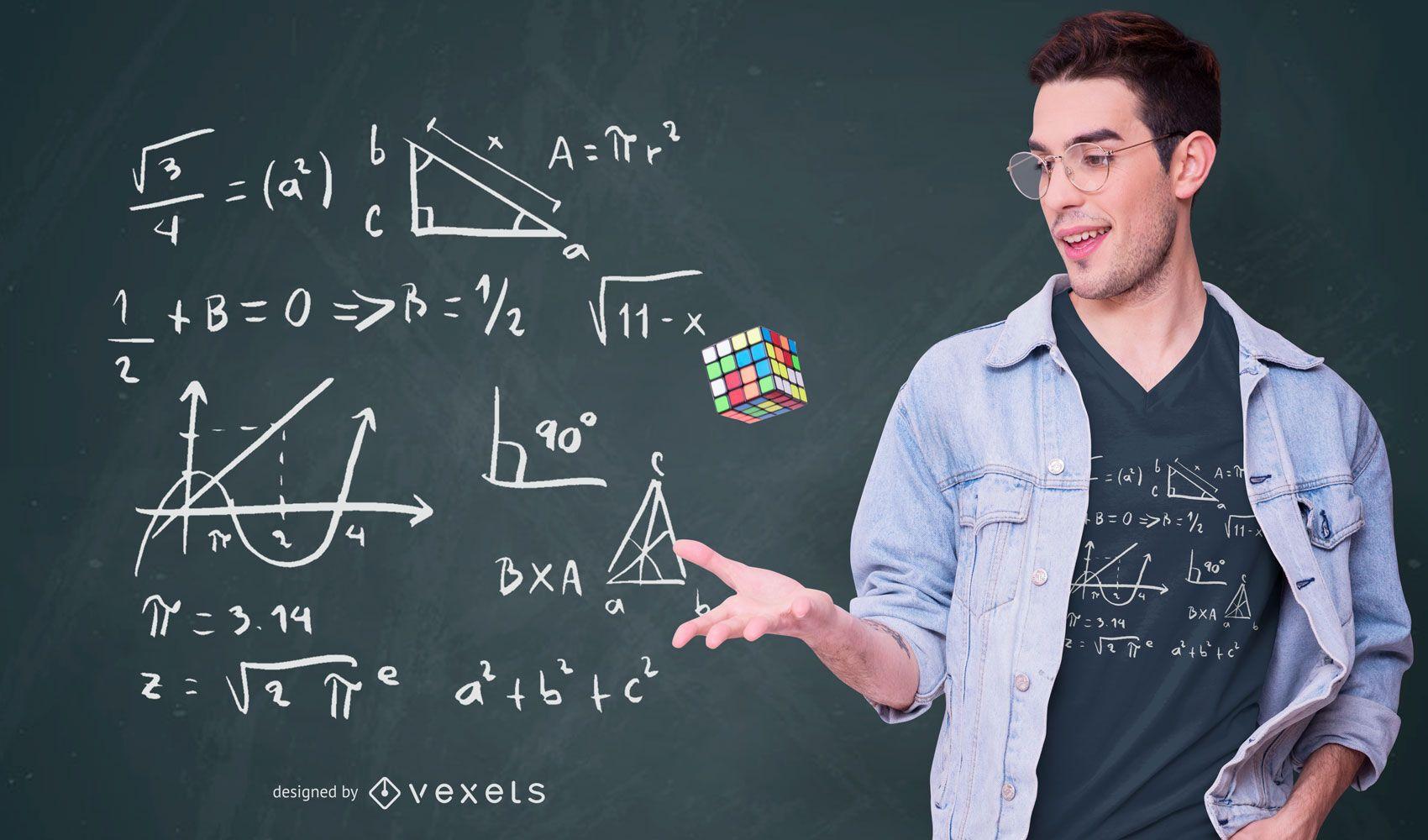 Diseño de camiseta de fórmulas matemáticas.