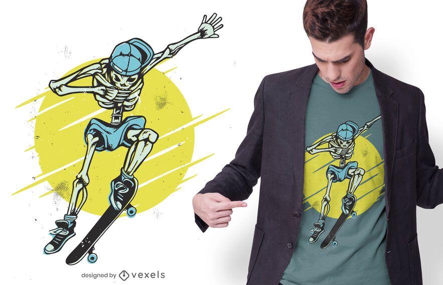 Skater skeleton t-shirt design