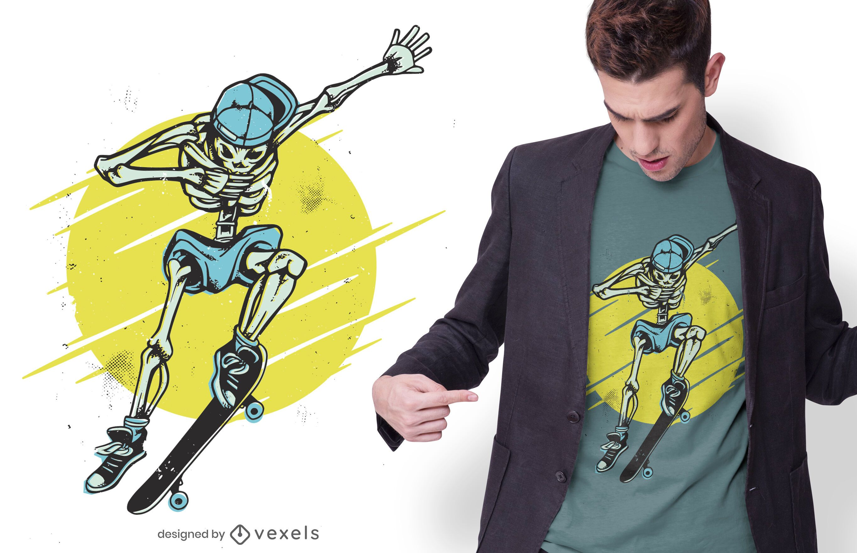 Diseño de camiseta skater skeleton