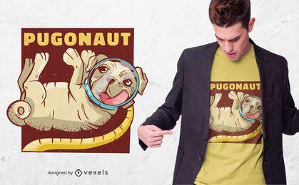 Diseño de camiseta de astronauta Pug
