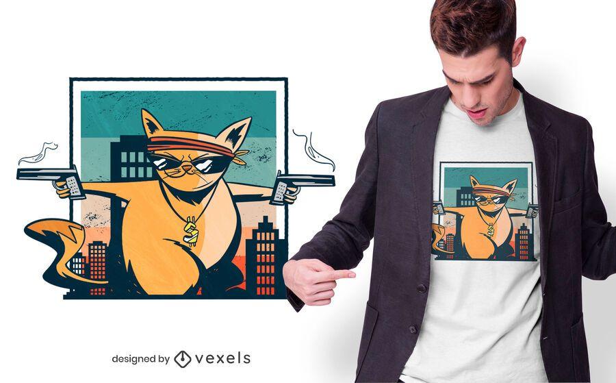 Design de t-shirt de gato criminal