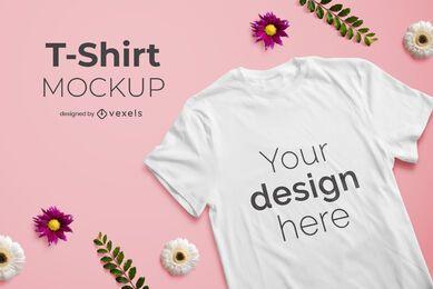 Maquete de camiseta floral composição