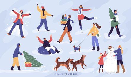 Pacote de caracteres de pessoas de inverno