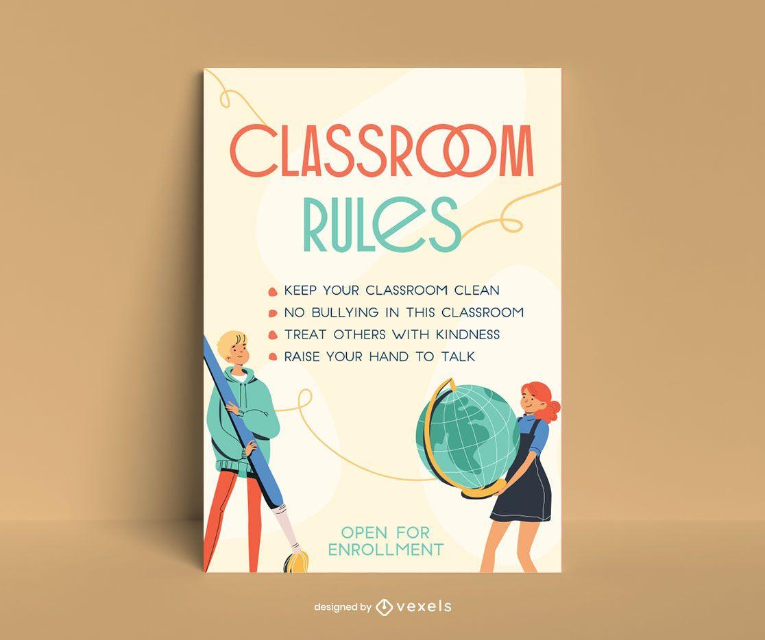 Diseño de carteles de personajes de reglas de aula.