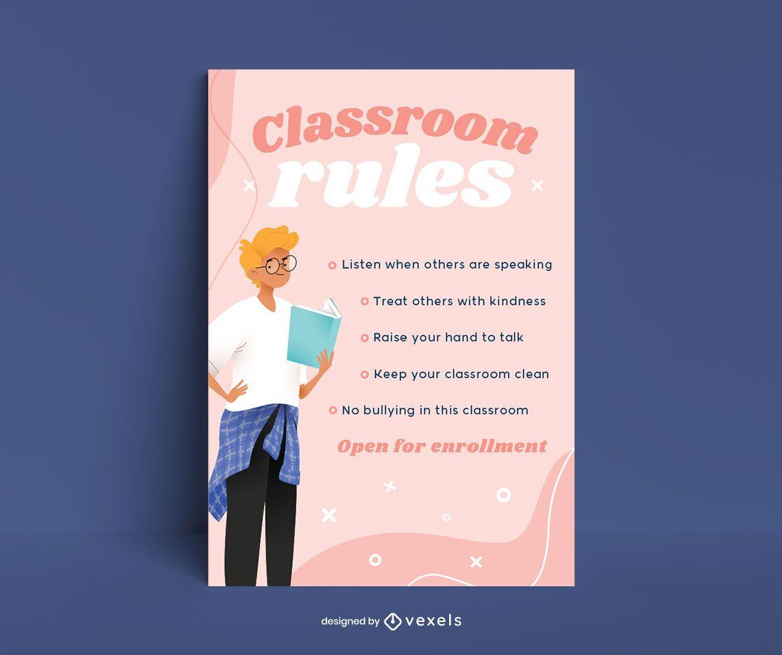 Plantilla de póster de reglas del aula