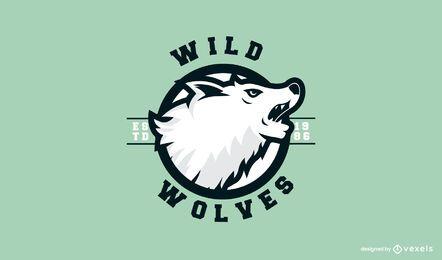 Plantilla de logotipo de lobos salvajes