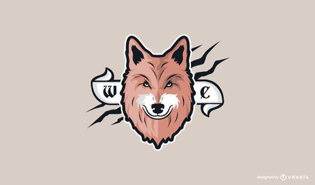 Diseño de logo de cabeza de lobo