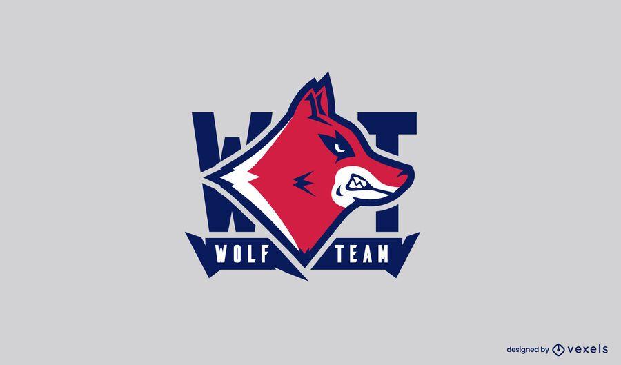 Plantilla de logotipo del equipo de lobo