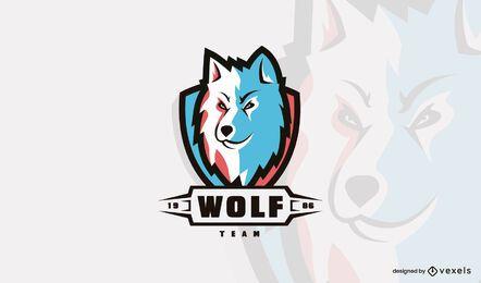 Plantilla de logotipo de cabeza de lobo