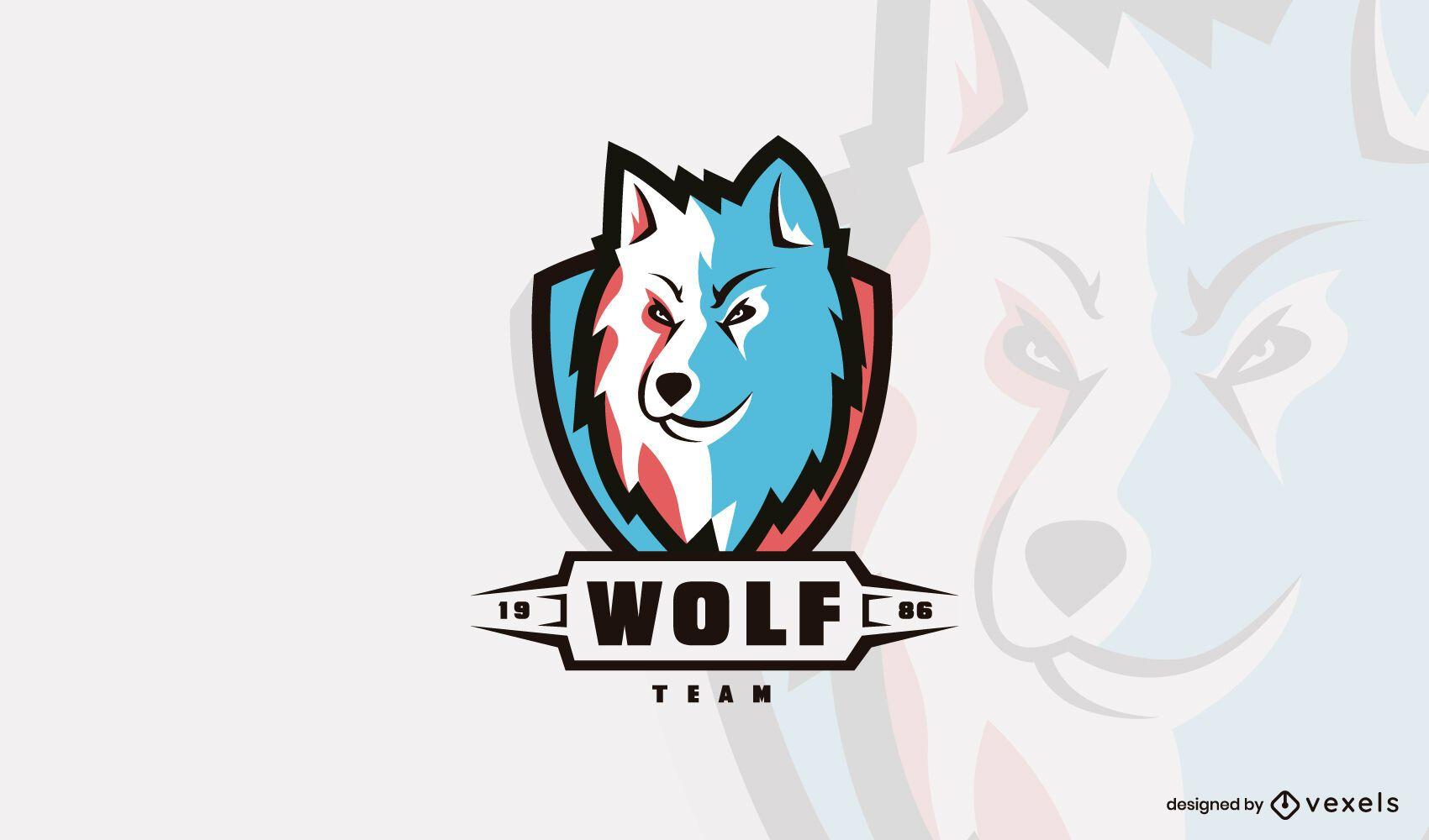 Modelo de logotipo da cabe?a de lobo