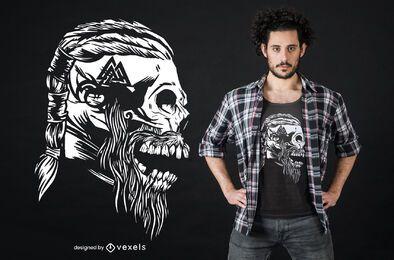 Diseño de camiseta de calavera vikinga