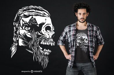 Diseño de camiseta de cráneo vikingo