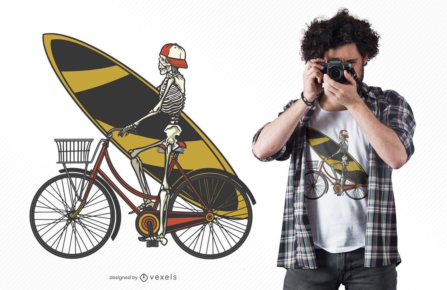 Diseño de camiseta de ciclismo esqueleto.