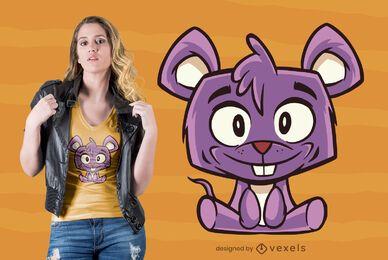 Design fofo de camiseta de rato
