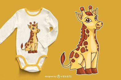 Diseño lindo de la camiseta del bebé jirafa