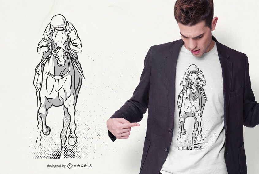 Hand drawn horse racing t-shirt design