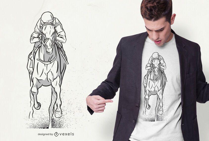 Mão desenhada design de t-shirt de corrida de cavalos