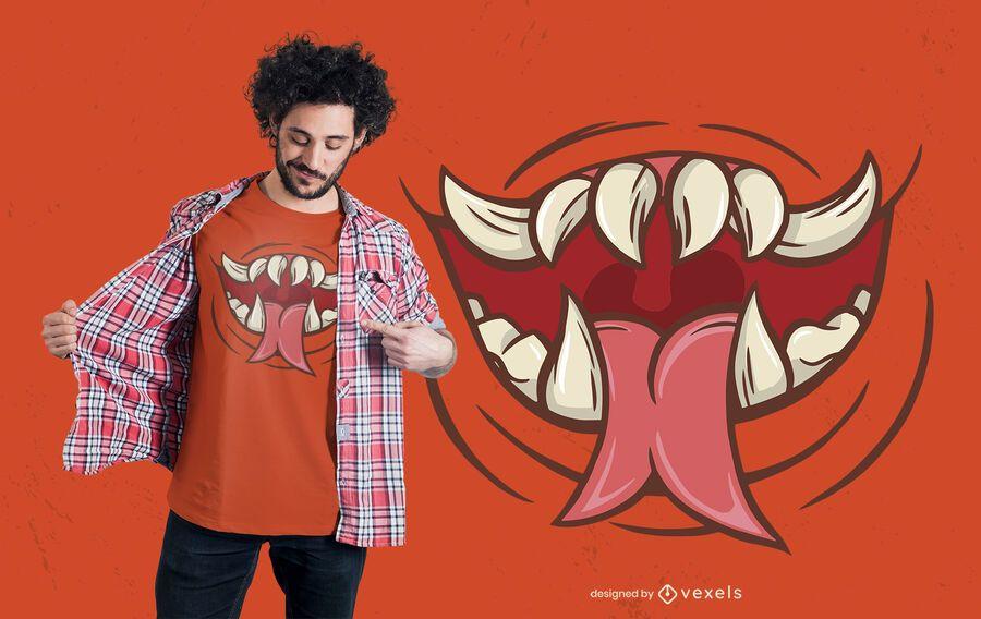Projeto assustador do t-shirt da boca do monstro