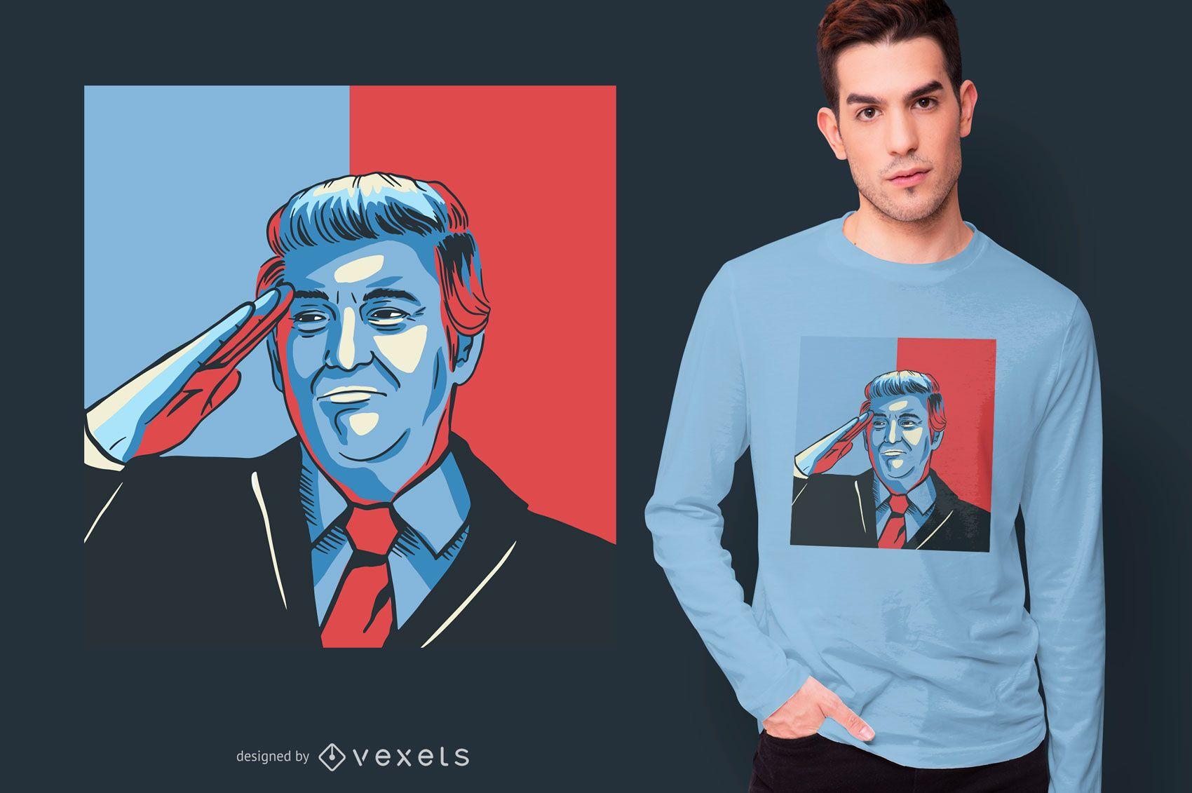 Diseño de camiseta de saludo de Donald Trump