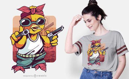 Diseño de camiseta de polluelo de gángster