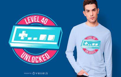 Diseño de camiseta desbloqueada de nivel 40