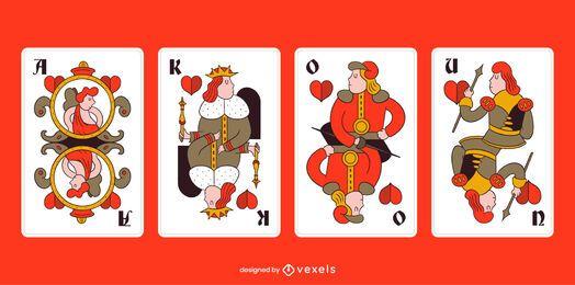 Paquete de tarjetas de traje de corazones de Tarock bávaro