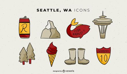 Pacote de elementos ilustrados de Seattle