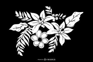 Decoración de flores en blanco y negro