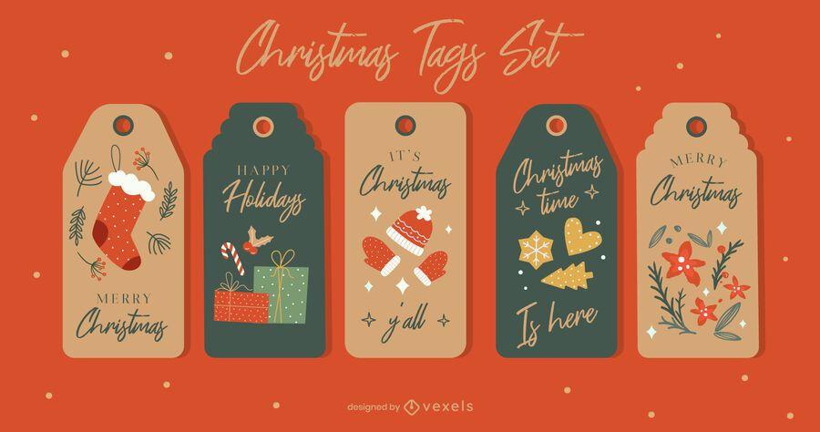 Merry christmas tag set