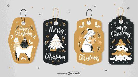 Conjunto de etiquetas de animales navideños