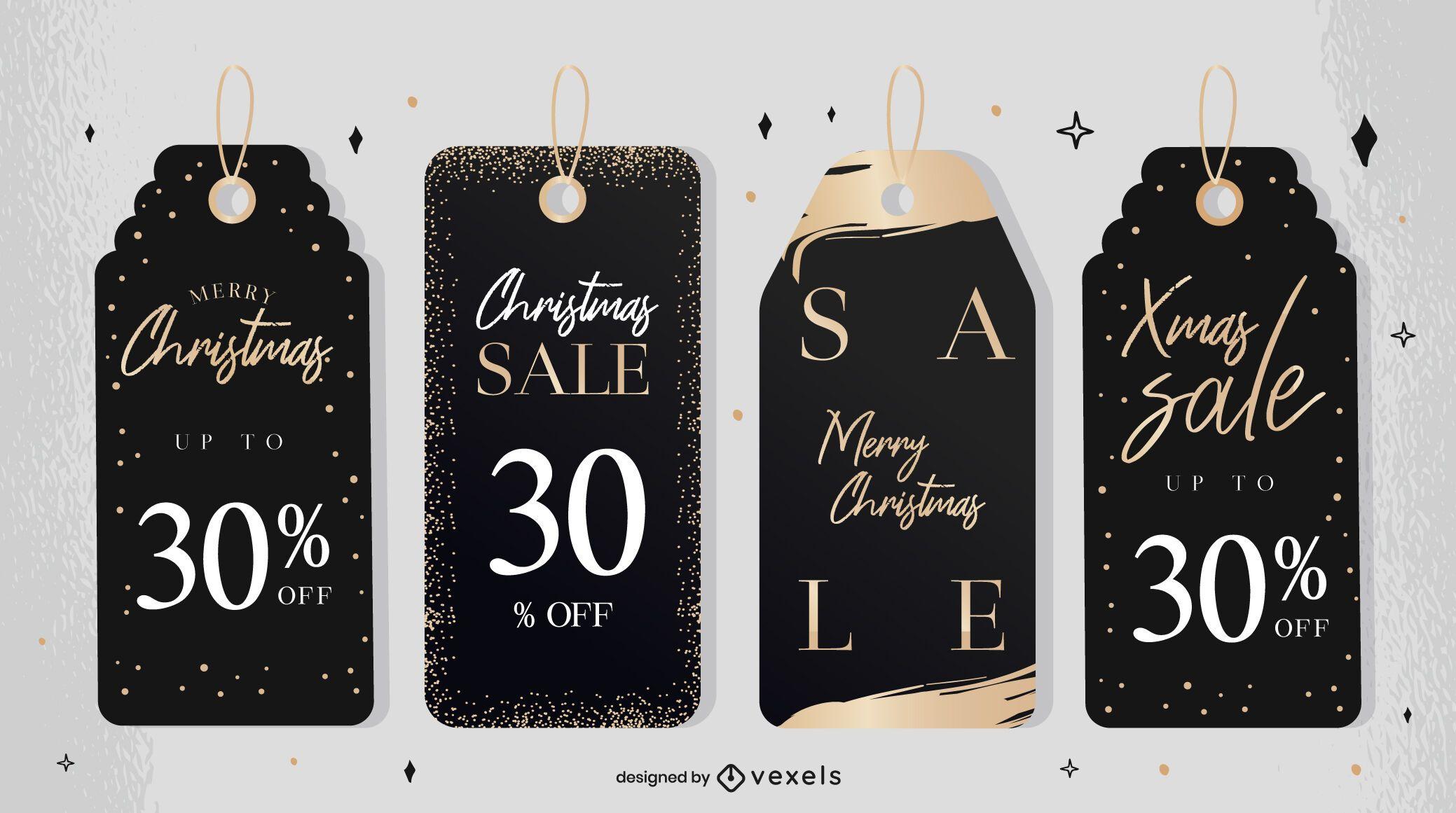 Christmas sale tag design set
