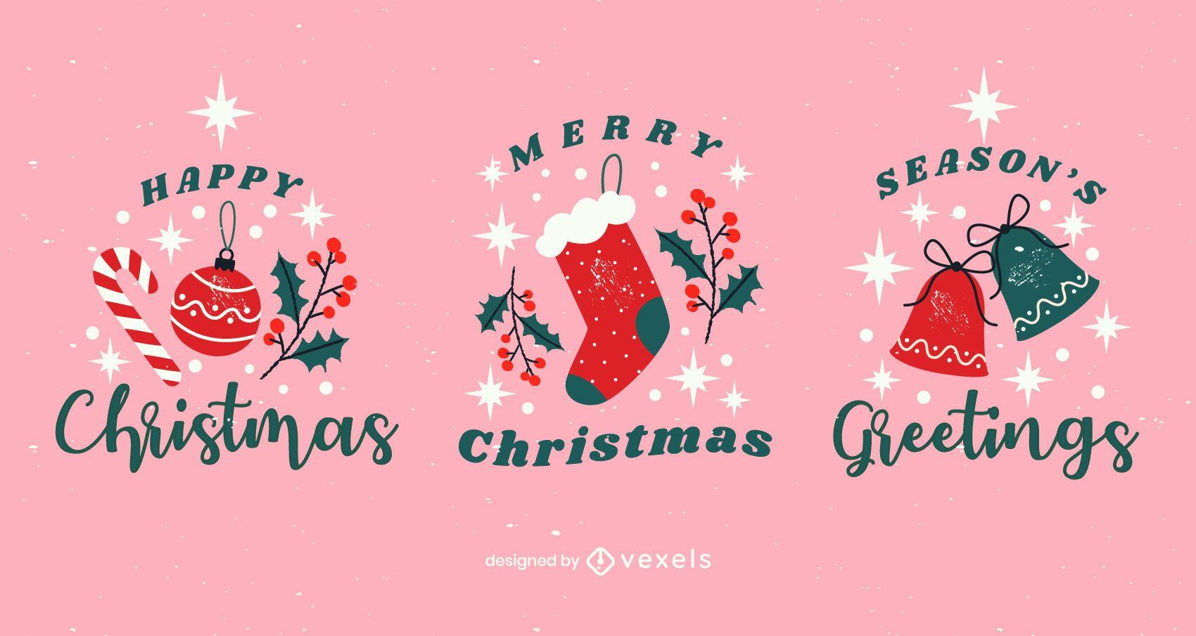 Conjunto de insignias navideñas brillantes