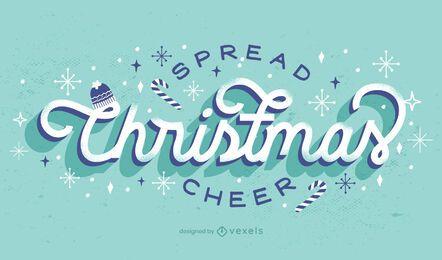 Difundir el diseño de letras de alegría navideña