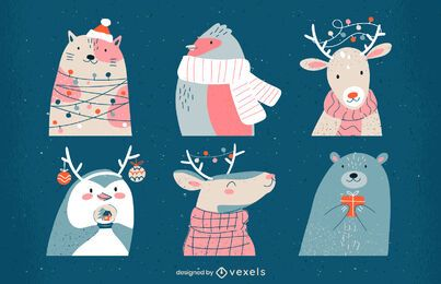 Christmas animals illustration set