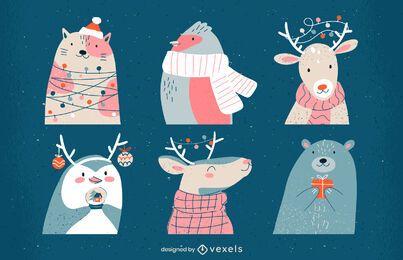 Conjunto de ilustración de animales de Navidad