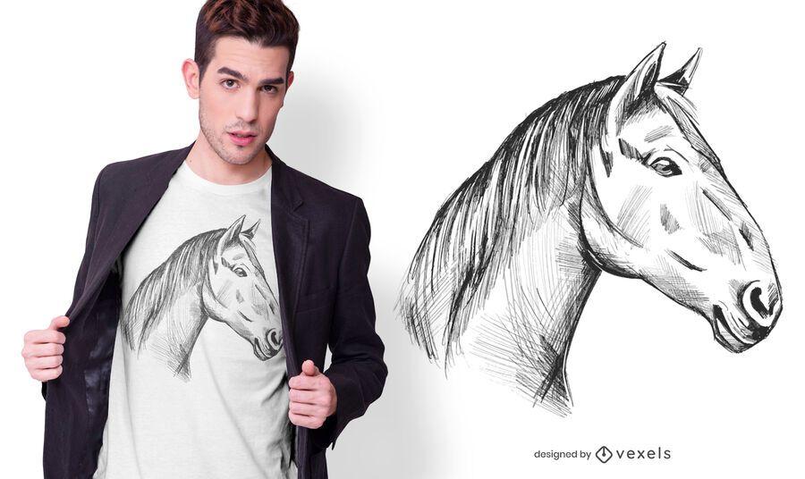 Diseño de camiseta de caballo dibujado a mano