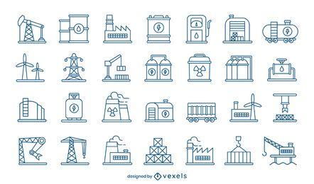 Conjunto de trazos de iconos de la industria