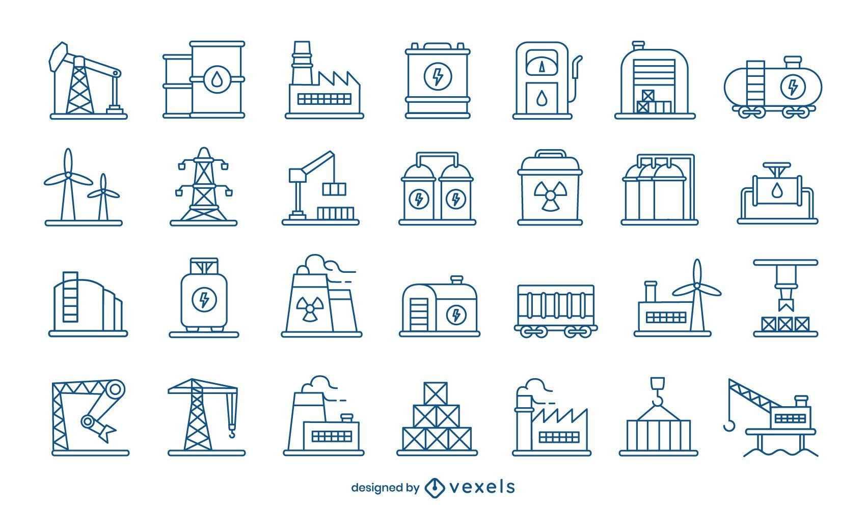 Industry icon stroke set