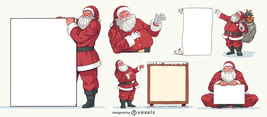 Conjunto de caracteres de placas em branco de Papai Noel