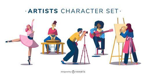 Conjunto de ilustração de personagem de artista