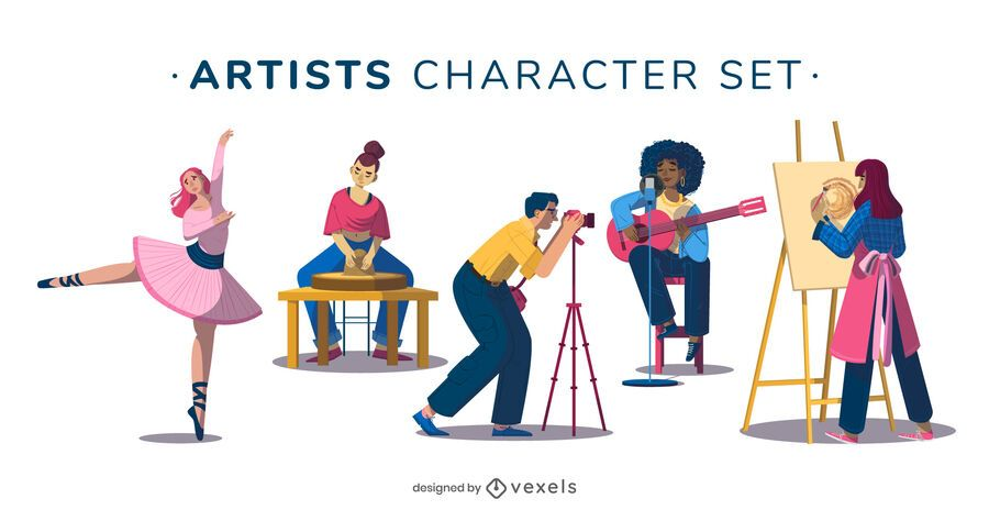 Artist character illustration set