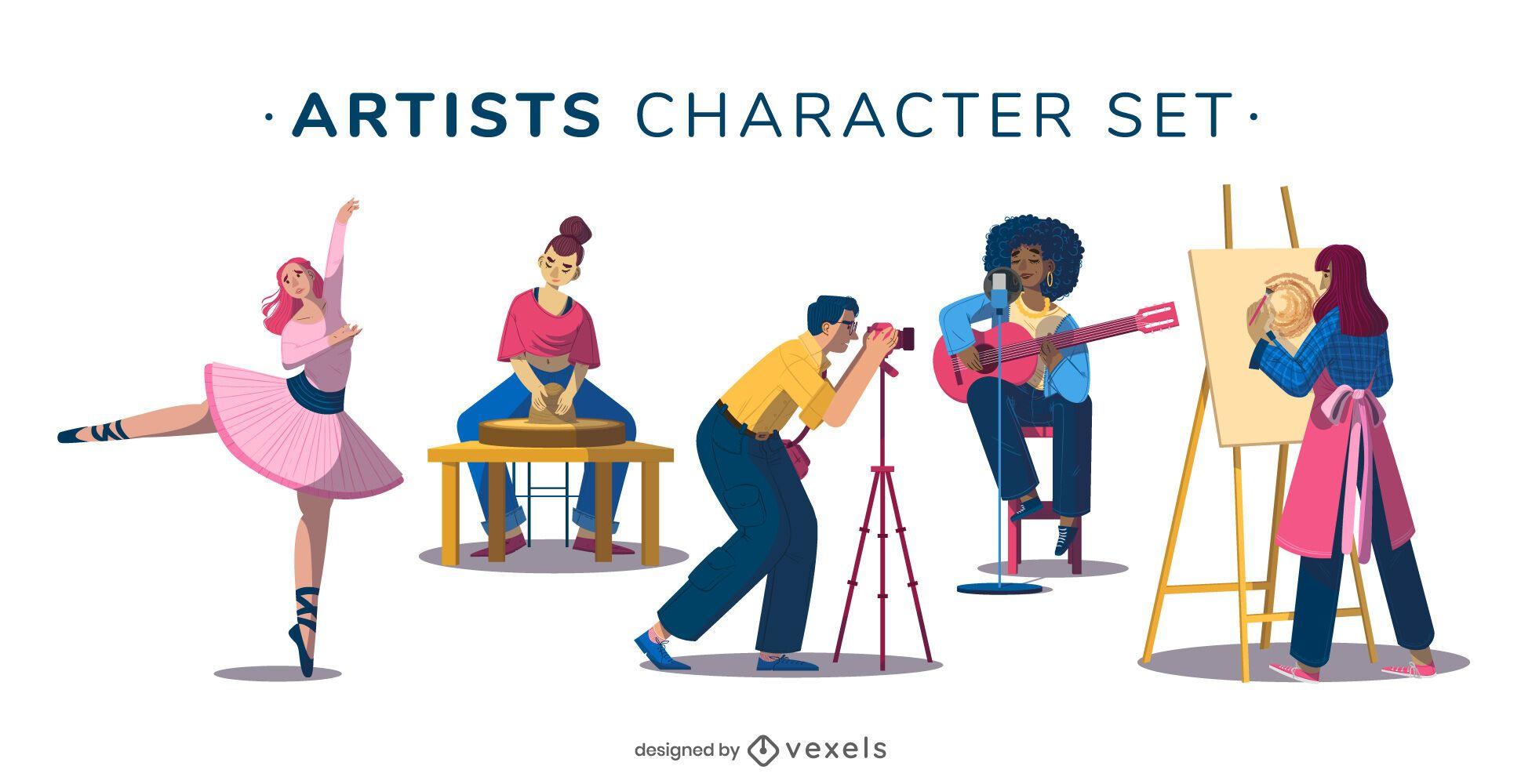 Artist character illustration set