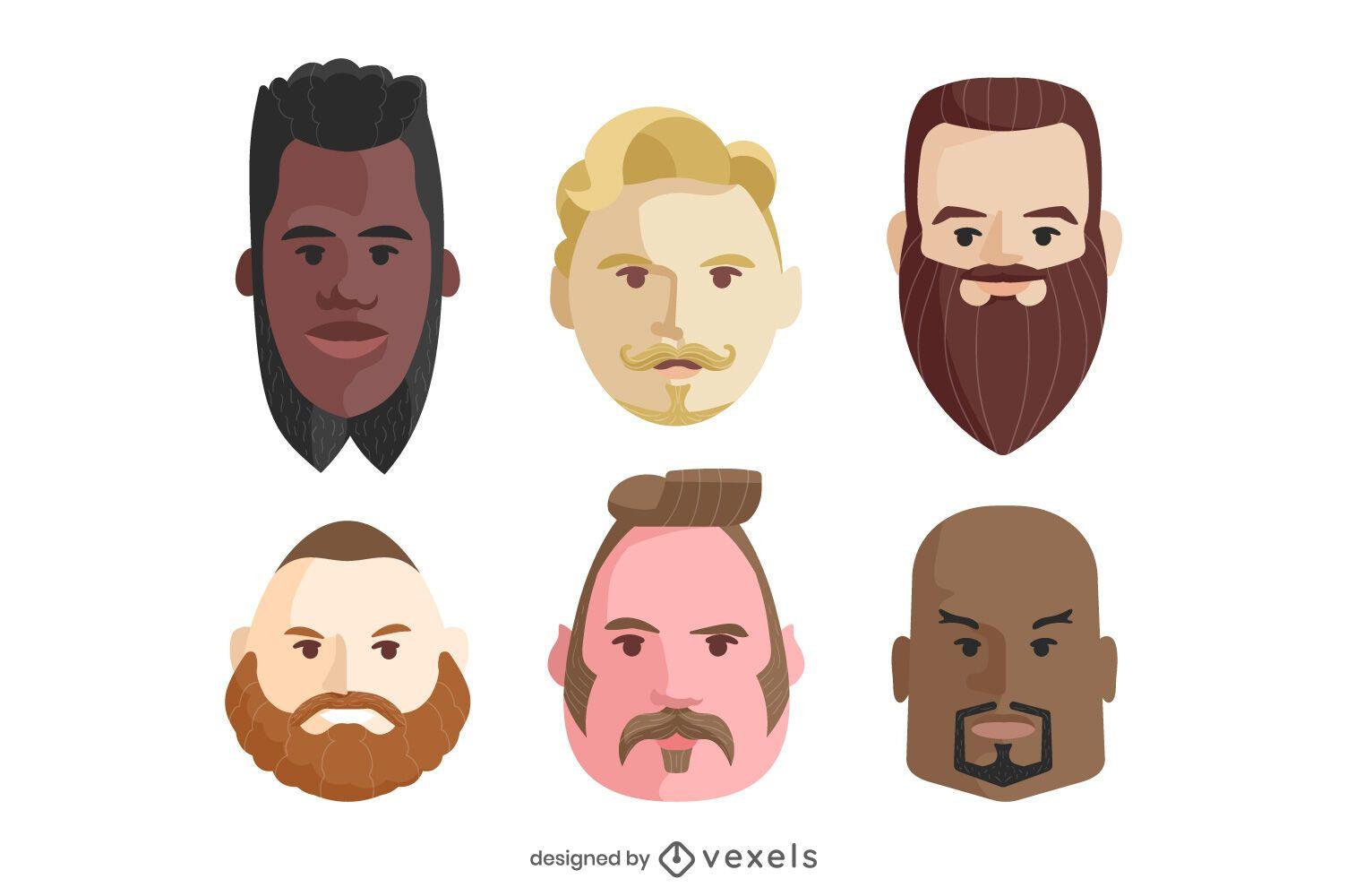 Men beards illustration set