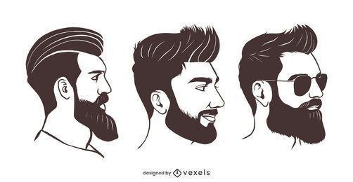Conjunto de ilustração de barba hipster