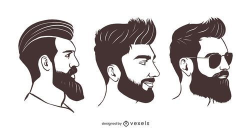 Hipster beard illustration set