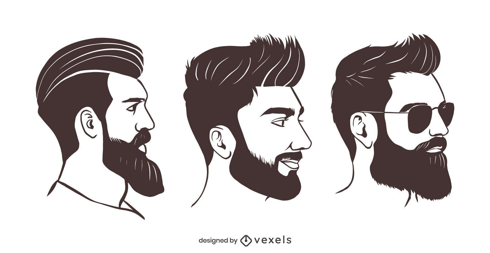 Hipster beard illustration set