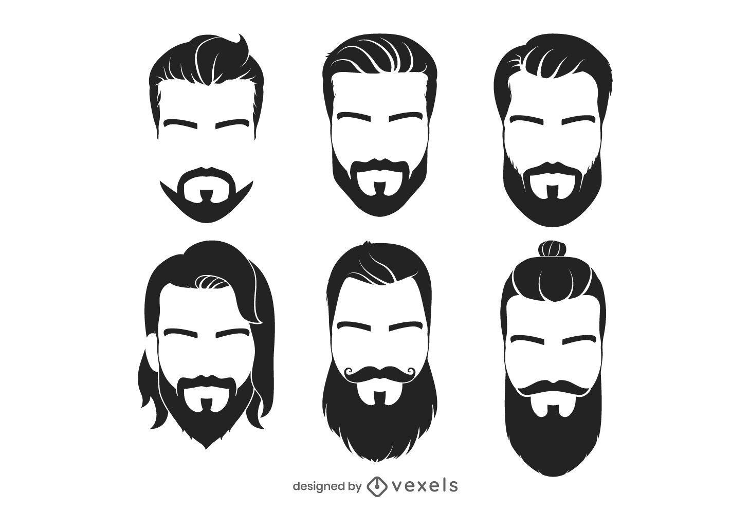 Conjunto de ilustração de cabelo facial hipster