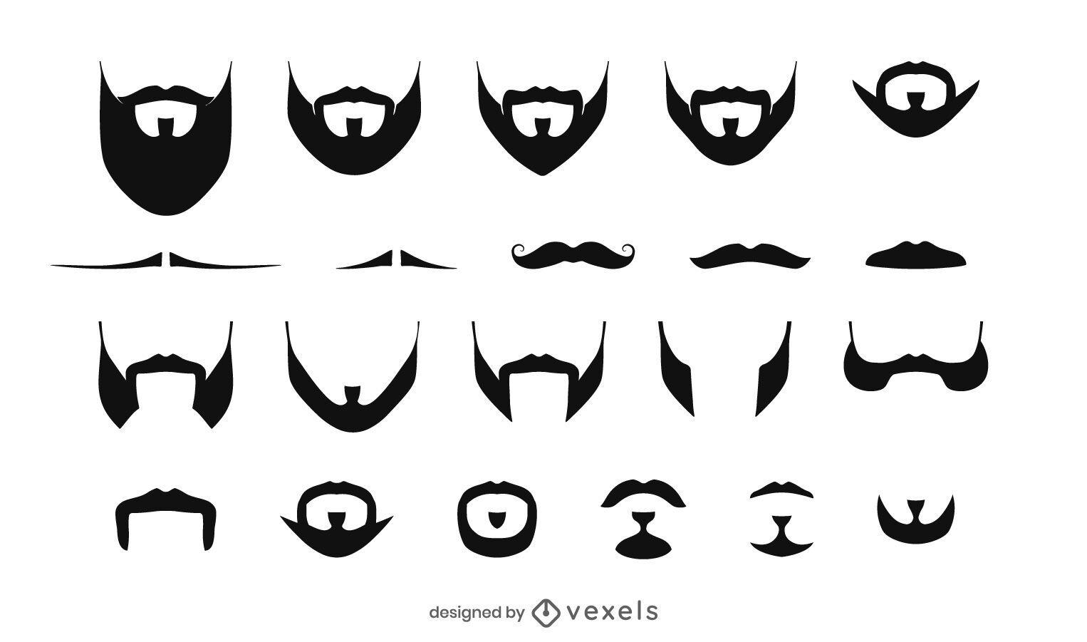 Beards and moustaches illustration set