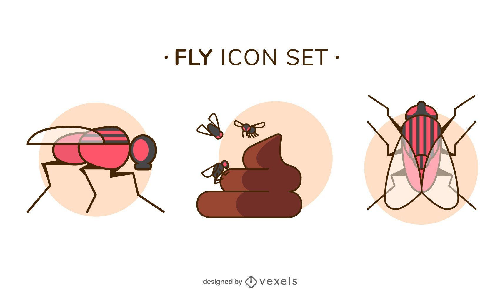 Conjunto de iconos de mosca
